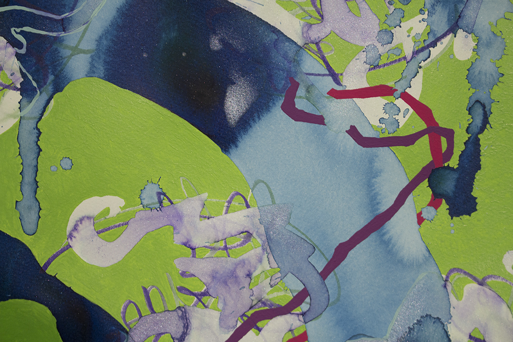 """Finale-detail, 22""""x30"""" (55.88cm x 76.2cm), acrylic and watercolor on paper mounted on wood"""