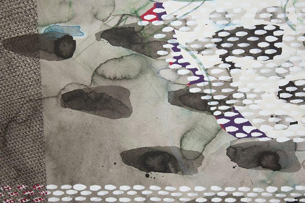 """Rest-detail, 42""""x53"""" (106.68cm x 134.62cm), watercolor, ink, sumi-ink, and acrylic on paper mounted on wood"""