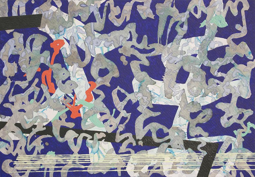 "Trajectory III, 9.5"" x 13.75"" (24.13cm x 34.9cm), acrylic and watercolor on paper mounted on wood"