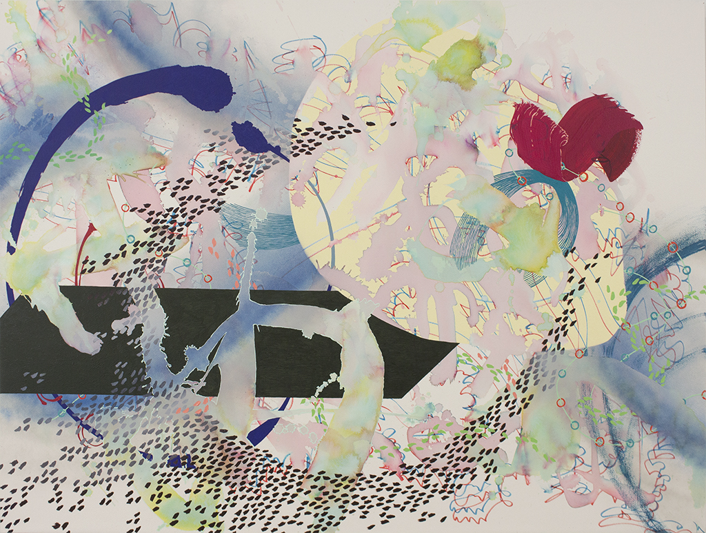 """Voyage I, 35 ½""""x47 ½"""" (90.17cm x 120.65cm), acrylic and watercolor on paper mounted on wood"""