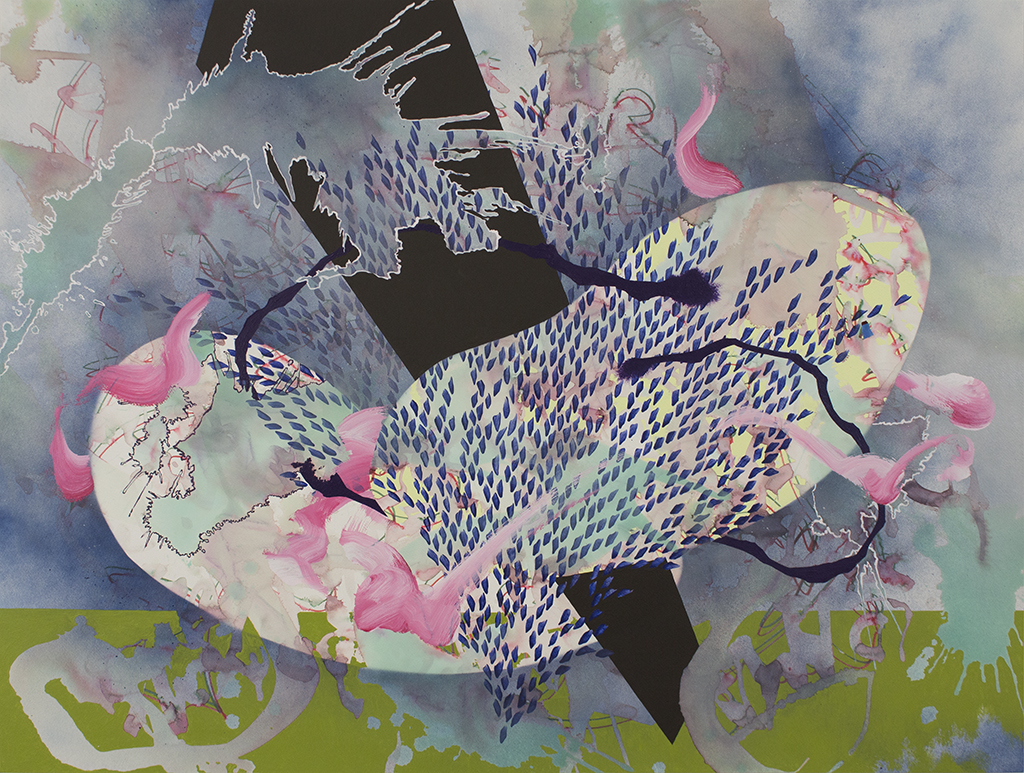 """Voyage II, 35 ½""""x47 ½"""" (90.17cm x 120.65cm), acrylic and watercolor on paper mounted on wood"""