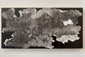 KuroKuroShiro XIV, 6x12 inches, Sumi on wood, 2019
